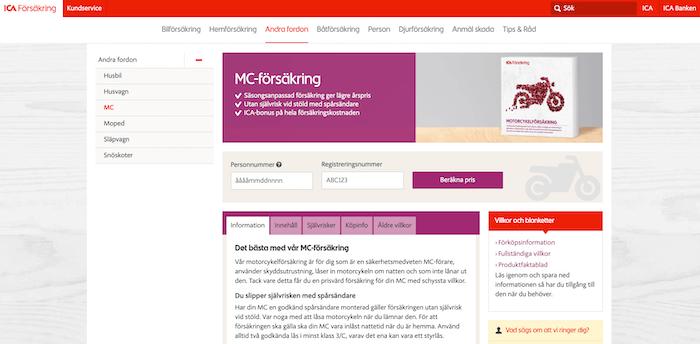 ica mc-försäkring hemsida