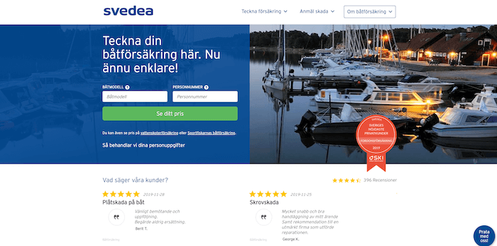 svedea båtförsäkring hemsida