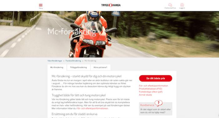 trygg hansa mc-försäkring hemsida