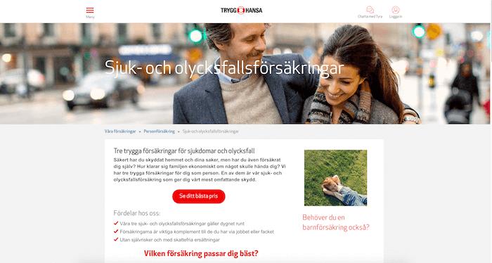 trygg-hansa olycksfallsförsäkring hemsida