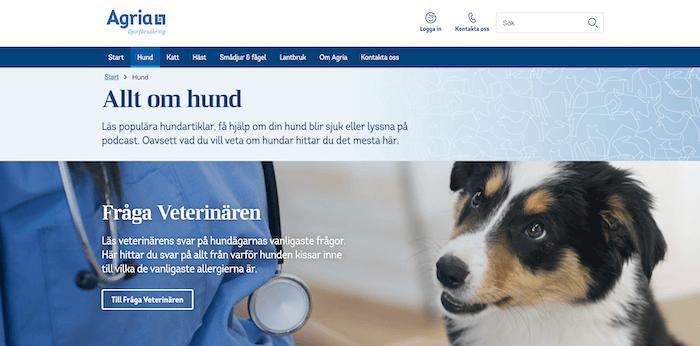 agria hundförsäkring hemsida