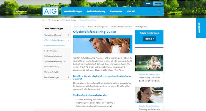 aig olycksfallsförsäkring hemsida