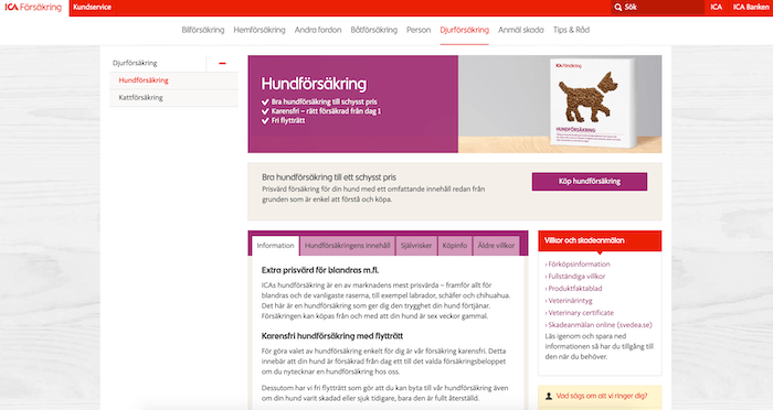 ica hundförsäkring hemsida