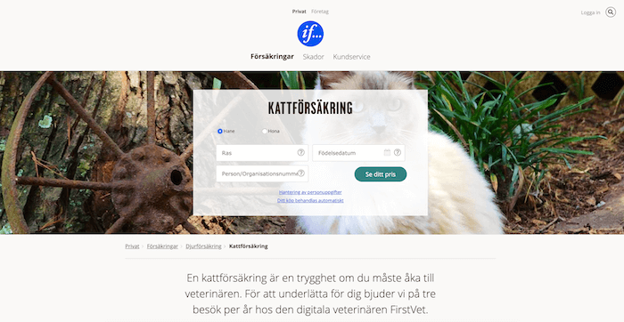 if hemsida för kattförsäkring