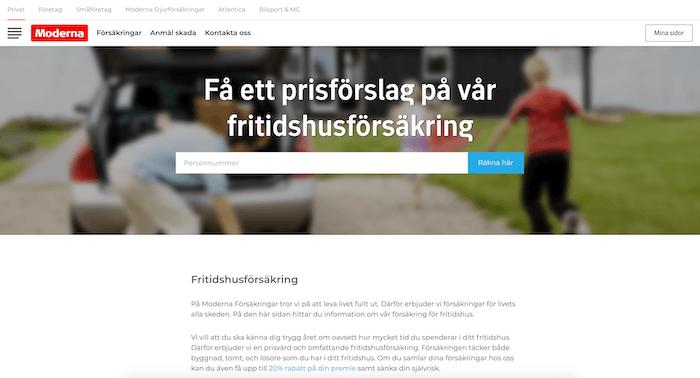 moderna fritidshusförsäkring hemsida