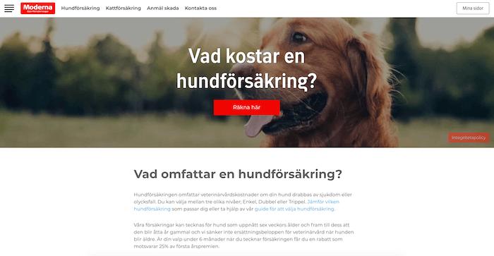 moderna hundförsäkring hemsida