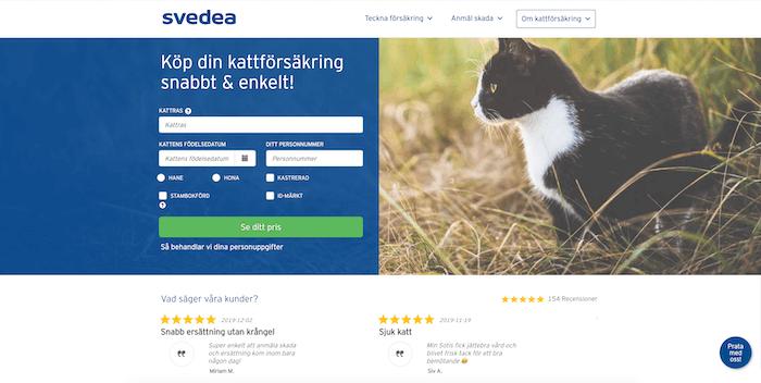 svedea hemsida för kattförsäkring