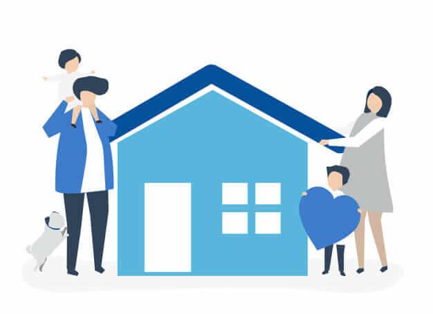 familj och barn vid hus