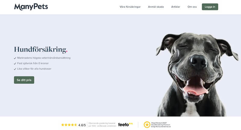 manypets hemsida hundförsäkring